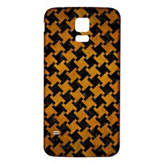 Houndstooth2 Black Marble & Yellow Grunge Samsung Galaxy S5 Back Case (white)