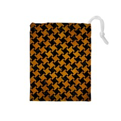 Houndstooth2 Black Marble & Yellow Grunge Drawstring Pouches (medium)