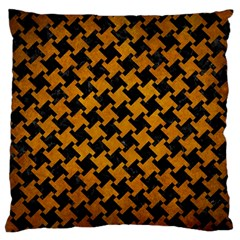 Houndstooth2 Black Marble & Yellow Grunge Large Flano Cushion Case (one Side)