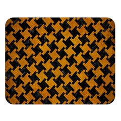 Houndstooth2 Black Marble & Yellow Grunge Double Sided Flano Blanket (large)