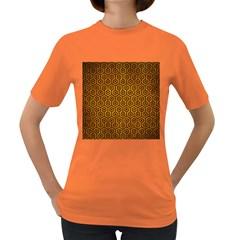 Hexagon1 Black Marble & Yellow Grunge Women s Dark T Shirt