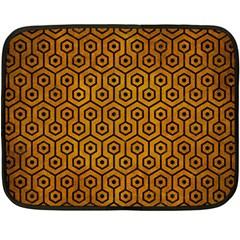 Hexagon1 Black Marble & Yellow Grunge Double Sided Fleece Blanket (mini)