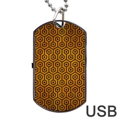 Hexagon1 Black Marble & Yellow Grunge Dog Tag Usb Flash (one Side)