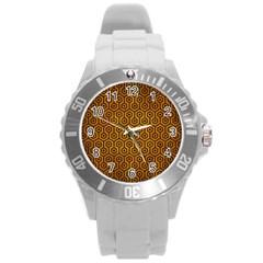Hexagon1 Black Marble & Yellow Grunge Round Plastic Sport Watch (l)