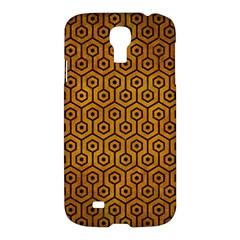 Hexagon1 Black Marble & Yellow Grunge Samsung Galaxy S4 I9500/i9505 Hardshell Case