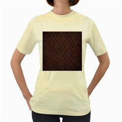Hexagon1 Black Marble & Yellow Grunge (r) Women s Yellow T Shirt