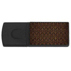 Hexagon1 Black Marble & Yellow Grunge (r) Rectangular Usb Flash Drive