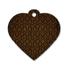 Hexagon1 Black Marble & Yellow Grunge (r) Dog Tag Heart (two Sides)