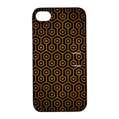 Hexagon1 Black Marble & Yellow Grunge (r) Apple Iphone 4/4s Hardshell Case With Stand
