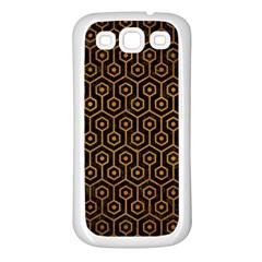 Hexagon1 Black Marble & Yellow Grunge (r) Samsung Galaxy S3 Back Case (white)