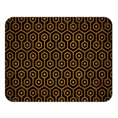Hexagon1 Black Marble & Yellow Grunge (r) Double Sided Flano Blanket (large)
