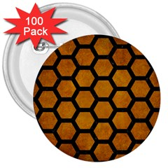 Hexagon2 Black Marble & Yellow Grunge 3  Buttons (100 Pack)