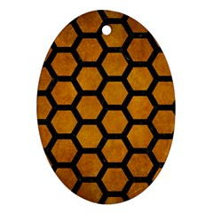 Hexagon2 Black Marble & Yellow Grunge Oval Ornament (two Sides)