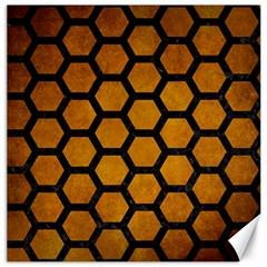 Hexagon2 Black Marble & Yellow Grunge Canvas 12  X 12