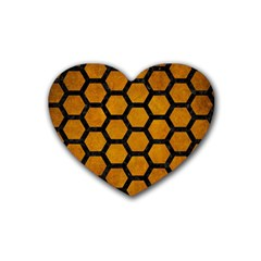 Hexagon2 Black Marble & Yellow Grunge Rubber Coaster (heart)