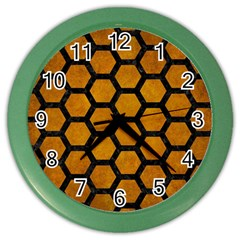 Hexagon2 Black Marble & Yellow Grunge Color Wall Clocks