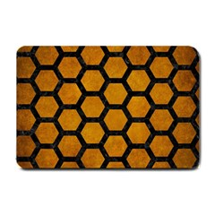 Hexagon2 Black Marble & Yellow Grunge Small Doormat