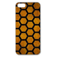 Hexagon2 Black Marble & Yellow Grunge Apple Seamless Iphone 5 Case (clear)