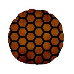 Hexagon2 Black Marble & Yellow Grunge Standard 15  Premium Round Cushions