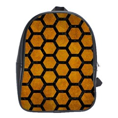 Hexagon2 Black Marble & Yellow Grunge School Bag (xl)