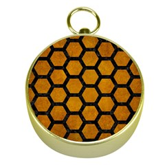 Hexagon2 Black Marble & Yellow Grunge Gold Compasses