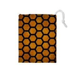 Hexagon2 Black Marble & Yellow Grunge Drawstring Pouches (medium)