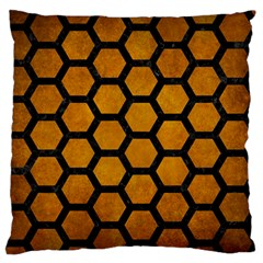 Hexagon2 Black Marble & Yellow Grunge Large Flano Cushion Case (two Sides)