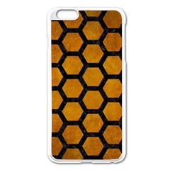 Hexagon2 Black Marble & Yellow Grunge Apple Iphone 6 Plus/6s Plus Enamel White Case