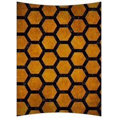 Hexagon2 Black Marble & Yellow Grunge Back Support Cushion