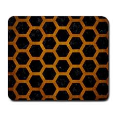 Hexagon2 Black Marble & Yellow Grunge (r) Large Mousepads