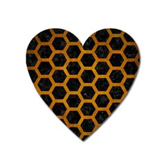 Hexagon2 Black Marble & Yellow Grunge (r) Heart Magnet