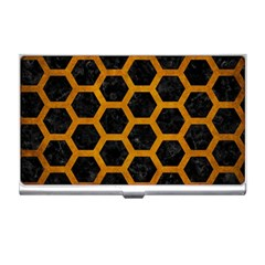Hexagon2 Black Marble & Yellow Grunge (r) Business Card Holders