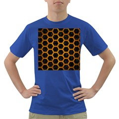 Hexagon2 Black Marble & Yellow Grunge (r) Dark T Shirt