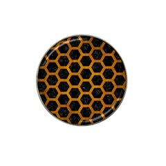 Hexagon2 Black Marble & Yellow Grunge (r) Hat Clip Ball Marker (4 Pack)