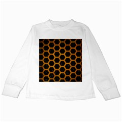 Hexagon2 Black Marble & Yellow Grunge (r) Kids Long Sleeve T Shirts