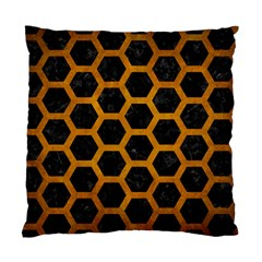 Hexagon2 Black Marble & Yellow Grunge (r) Standard Cushion Case (two Sides)