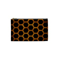 Hexagon2 Black Marble & Yellow Grunge (r) Cosmetic Bag (small)