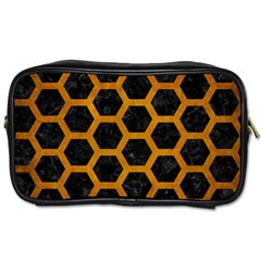 Hexagon2 Black Marble & Yellow Grunge (r) Toiletries Bags