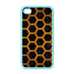 Hexagon2 Black Marble & Yellow Grunge (r) Apple Iphone 4 Case (color)