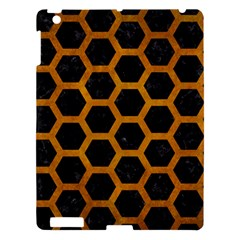 Hexagon2 Black Marble & Yellow Grunge (r) Apple Ipad 3/4 Hardshell Case