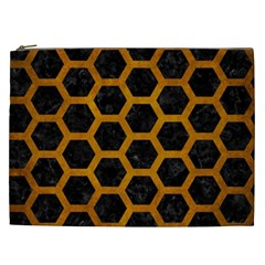 Hexagon2 Black Marble & Yellow Grunge (r) Cosmetic Bag (xxl)