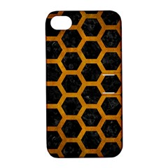 Hexagon2 Black Marble & Yellow Grunge (r) Apple Iphone 4/4s Hardshell Case With Stand