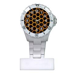 Hexagon2 Black Marble & Yellow Grunge (r) Plastic Nurses Watch