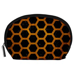 Hexagon2 Black Marble & Yellow Grunge (r) Accessory Pouches (large)