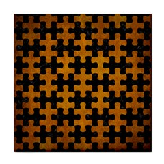 Puzzle1 Black Marble & Yellow Grunge Tile Coasters