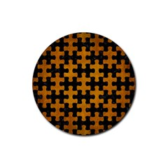 Puzzle1 Black Marble & Yellow Grunge Rubber Coaster (round)