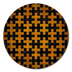 Puzzle1 Black Marble & Yellow Grunge Magnet 5  (round)
