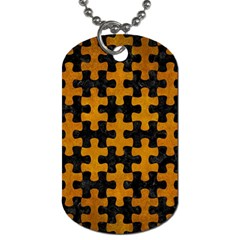 Puzzle1 Black Marble & Yellow Grunge Dog Tag (two Sides)