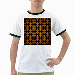 Puzzle1 Black Marble & Yellow Grunge Ringer T Shirts