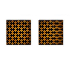 Puzzle1 Black Marble & Yellow Grunge Cufflinks (square)